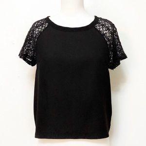 Anthropologie Elodie Black Lace Sleeve Top